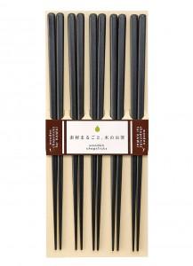 Набор деревянных палочек для еды Kawai [5 шт; чёрн.]