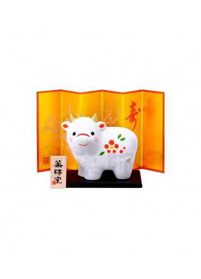 Малый бык (символ 2021 года) с ширмой от Yakushigama –Красная слива– [75×65мм]